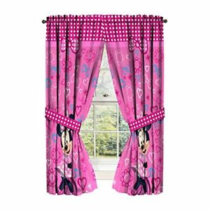 Details about Kids Bedroom Decor Disney Minnie Mouse Window Panels Curtains  Drapes Pink 42x63\