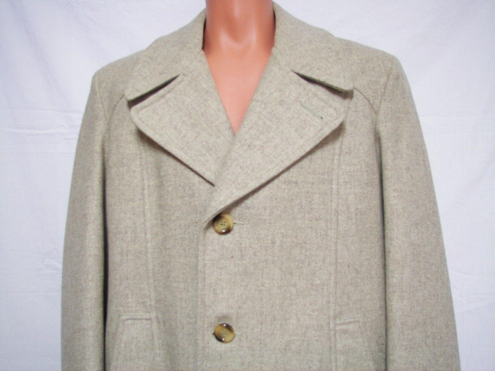 Mens Wool Dress Coat Size 42R Vintage USA by Thgoldughbred  Beige Tweed