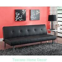 Black Leather Futon Modern Sofa Bed Contemporary Tufted Couch Lounge Furniture