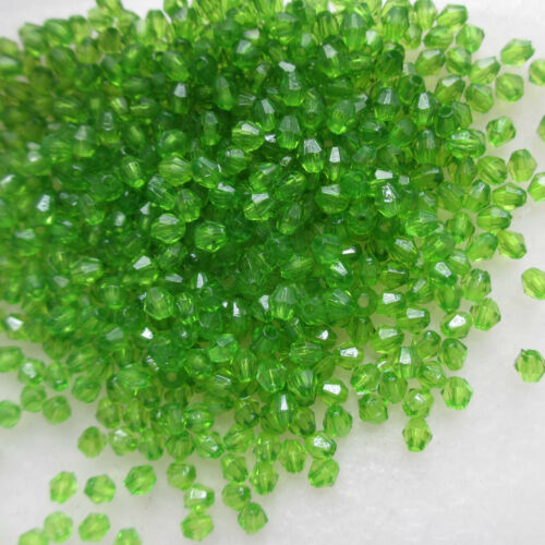 1000 4mm  Lovely Bicone Beads Acrylic Choice of 10 Colours Crafts /& Jewellery