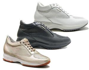 wholesale dealer 98835 6ba76 Dettagli su KEYS 5501 NERO BIANCO PLATINO scarpe donna sneakers pelle  casual zeppa lacci