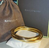 $450 Ross Simons 14k Yellow Gold Mesh Puffy Silicone Bangle Bracelet 7