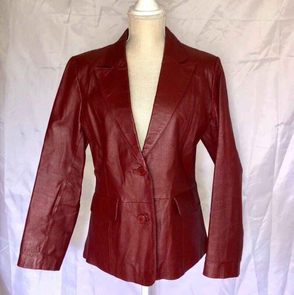 Vintage Bagatelle Red Button Up Leather Blazer