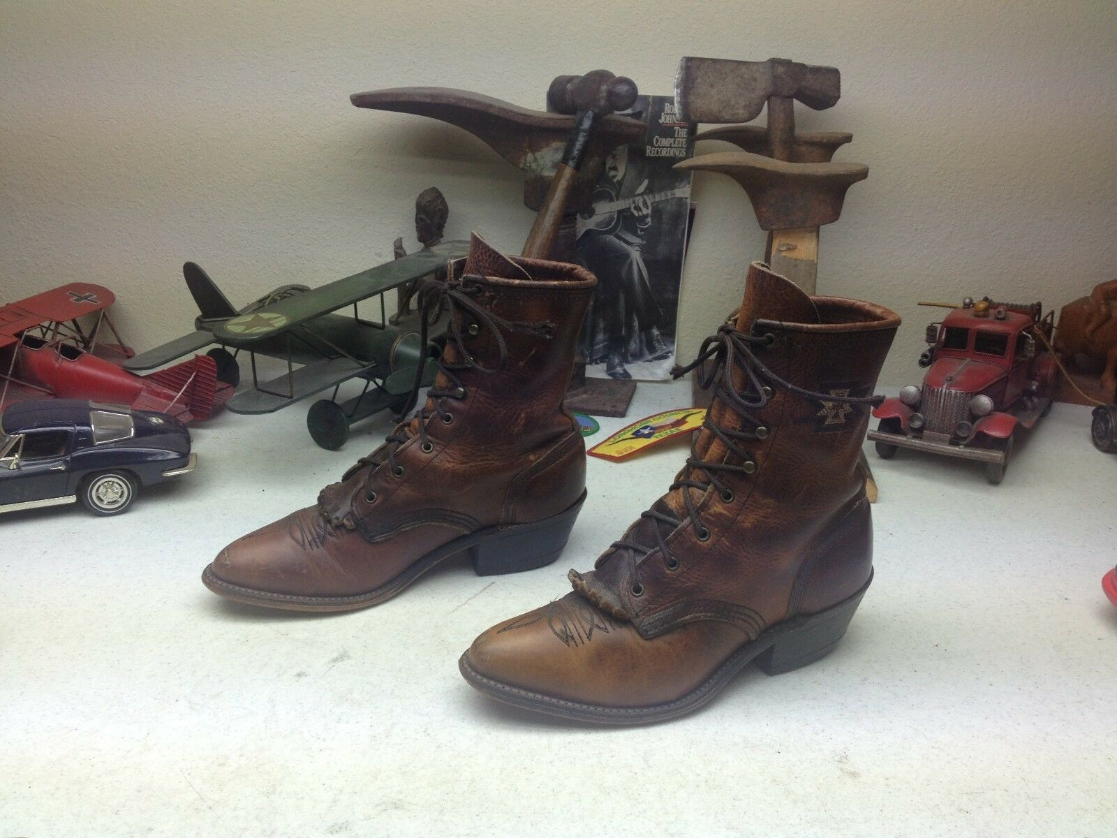 DISTRESSED USA BROWN LEATHER LACE UP GRANNY KILTIE WESTERN WORK CHORE BOOTS 5 M