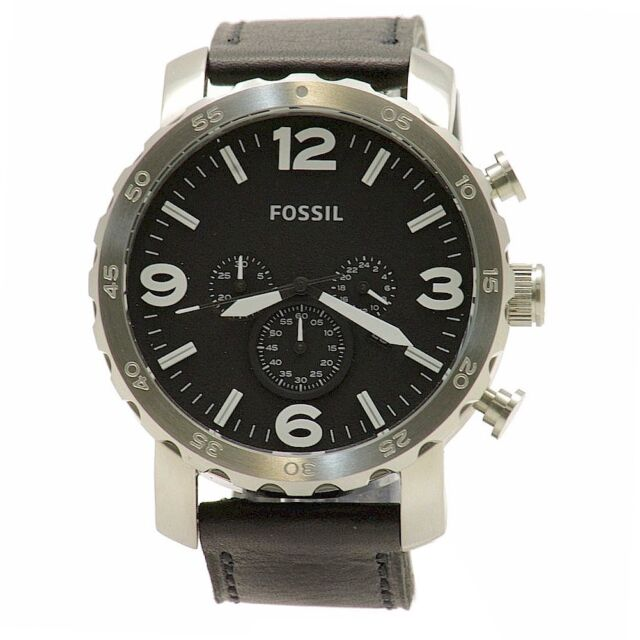 Fossil Men's Nate JR1436 Black Leather Silver Chronograph Analog Watch