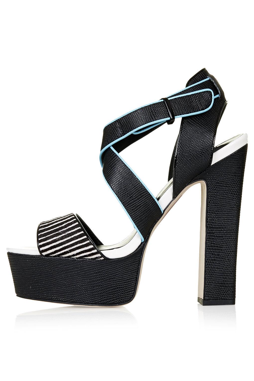 Topshop LAINE Platform Sandals Heels - Black/Multi - RRP £55 - Brand New