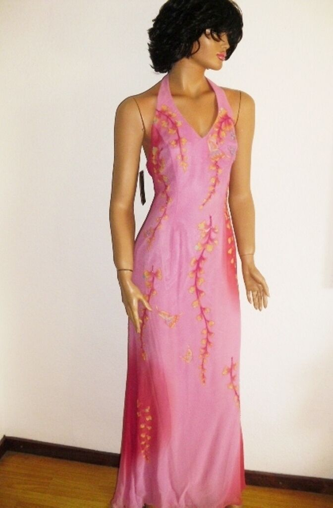 FAUST PARIS Luxus Seiden Gala Abend Kleid pink pink changiert handbemalt  36 38