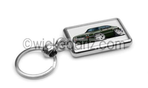 RetroArtz Cartoon Ford Capri 2.8i in British Racing Green Premium Metal Key Ring