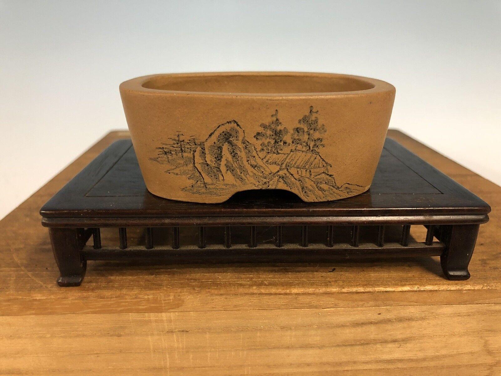 "Handmade Etched Shohin Größe Bonsai Tree Pot By Maruhei 3 7 8"""
