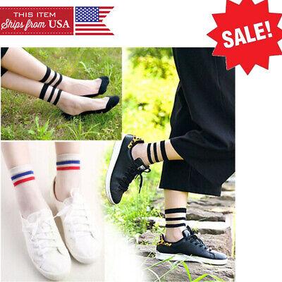 Pair of Sheer Two Tone Striped Mesh Nylon Ankle High Socks Lolita Pin-Up Vintage