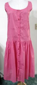 Vintage-80s-CHANDNI-Pink-Dress-NWT-Embroidered-Cotton-Button-Front-Tie-Belt-NEW