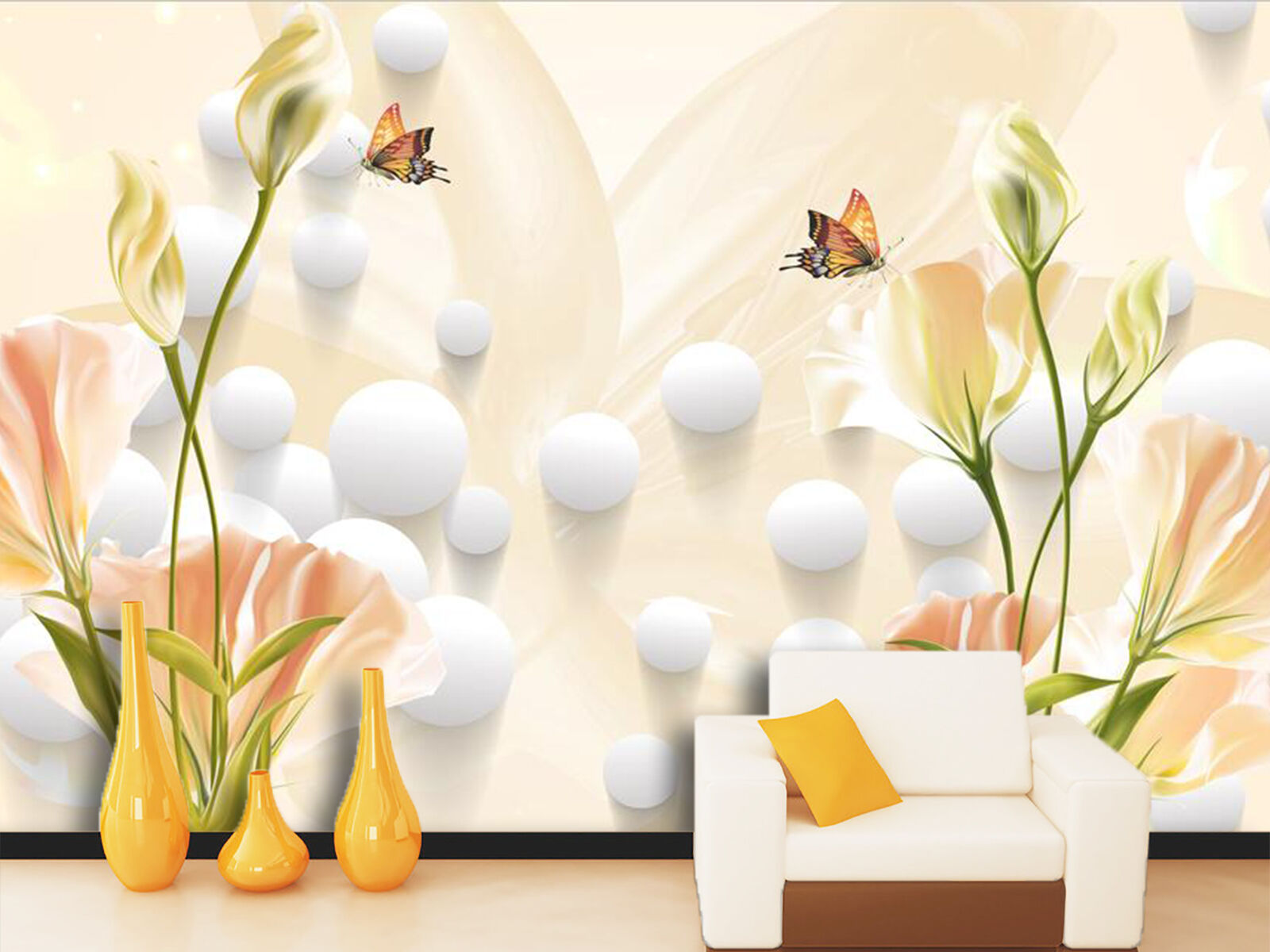 3D Butterflies Flowers 2239 Wallpaper Decal Dercor Home Kids Nursery Mural Home