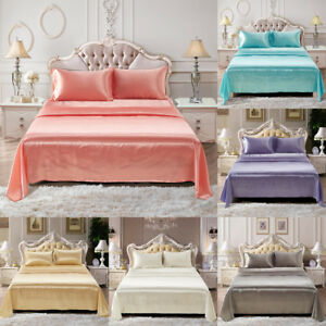 Image Is Loading Comfortable Satin Silk Fitted Sheet Bed Flat Sheet