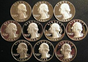 1980-1989-S-Washington-Quarter-Gem-Cam-Proof-Run-10-Coin-Decade-Set-US-Mint-Lot