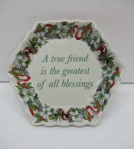 Spode-Porcelain-Holidays-True-Friend-2007-Gift-5-034-Octagon-Trinket-Ring-Dish-Tray