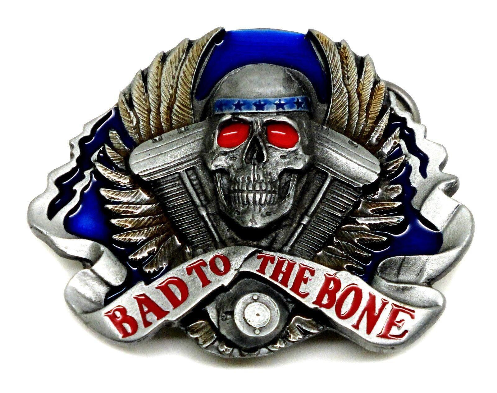 Biker Belt Buckle Bad To The Bone Motorcycle Skull & V Twin Authentic Siskiyou