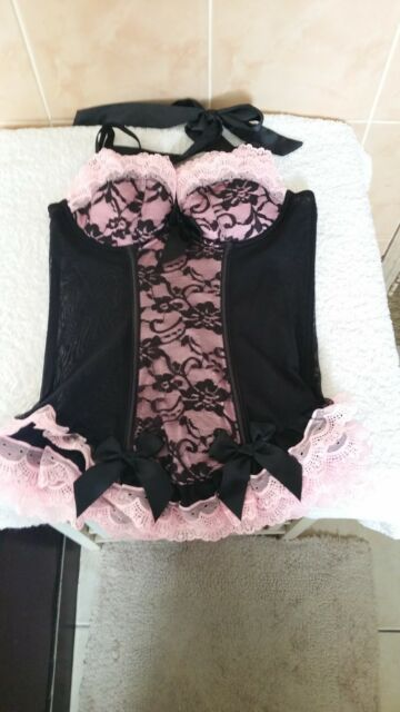 Ann Summers Rara Corset Basque Black & Pink Size 8 New Without Tags