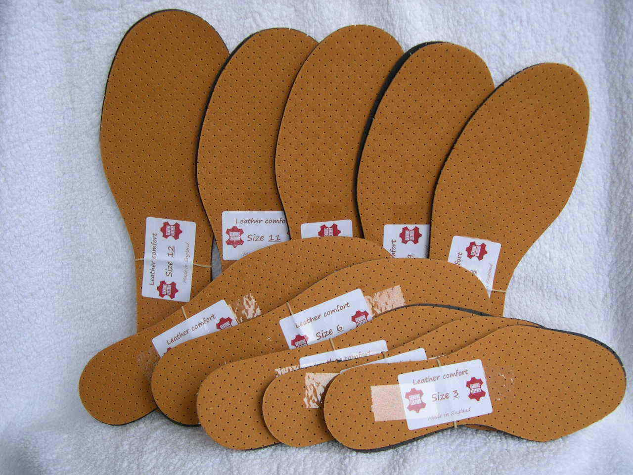 LEATHER INSOLES WITH ODOUR EATER SPORT WORK BOOTS SHOES UK SIZES 3-12