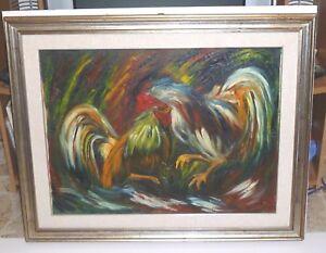 DIPINTO-AD-OLIO-SU-TELA-cm-60x80-IN-CORNICE-scena-animali-oil-painting