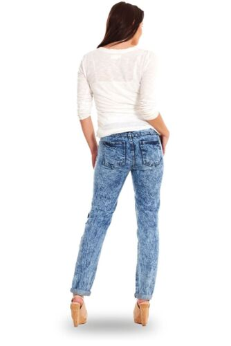 Ladies Slim Fit Acid Wash Ripped Jeans Womens Skinny Denim Blue Sizes 8-18
