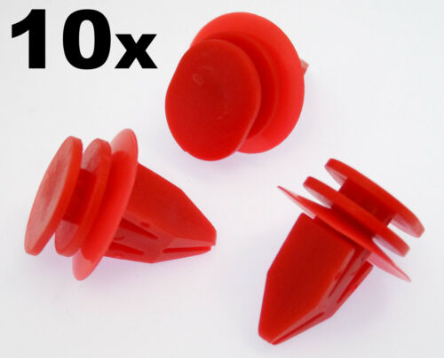 10x Mini Red Plastic Trim Clips for Sideskirts Sill Mouldings Bodykits