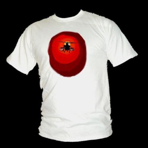 100/% cotton mens T-shirt MODERN WARFARE ICON Apache Helicopter airstrike