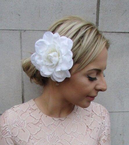 Large Ivory Dahlia Flower Hair Clip Rose Big Rockabilly 1950s Bridesmaid 5229