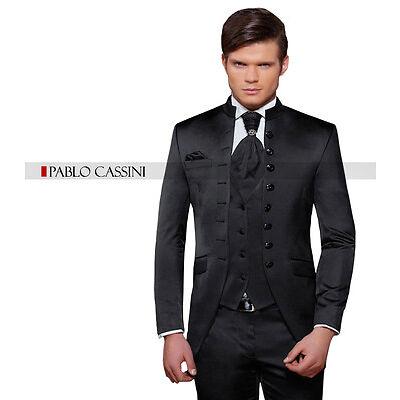 PABLO CASSINI Designer Herren Anzug Schwarz CUT Hochzeitsanzug Bräutigam NEU
