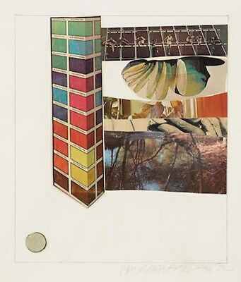 ROBERT RAUSCHENBERG Signed 1972 Original Color Lithograph & Collage
