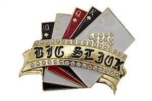 Men Women Gold Rhinestones Metal Belt Buckle Lucky Dices Las Vegas Casino Craps