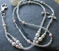 Pink Crystal Angel Handmade ID Lanyard Badge Holder Necklace Guardian Angel