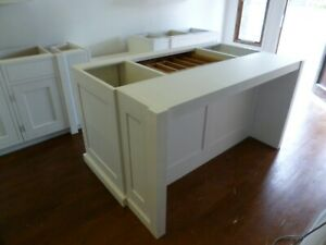 3 drawer painted kitchen island unit with breakfast bar cabinet handmade