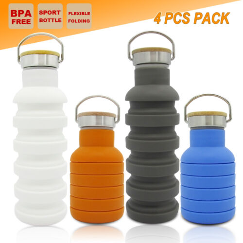 4x COLLAPSIBLE SPORT WATER BOTTLE OFFICE CAMPING KAYAKING GYM SCHOOL KETTLE CUP