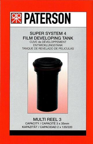 excepto Carretes 3 x Multi Reel Paterson Super Sistema 4 película en vías de desarrollo del tanque