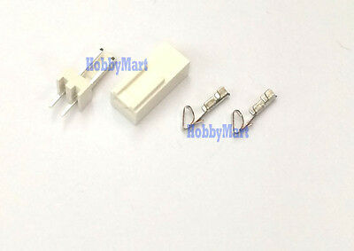 2510 2.54mm 2-Pin Male Header Female Connector PCB Socket and crimps x 50 sets