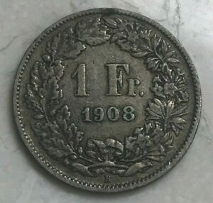 1908 Switzerland 1 One Franc - Silver