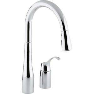 Details about Kohler K-647-CP Simplice 1-Handle Pull-Down Kitchen Faucet in  Polished Chrome
