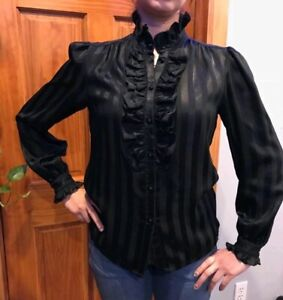 M Vintage 1970/'s 1980/'s Silky High Necked Secretary Style Blouse by Personal