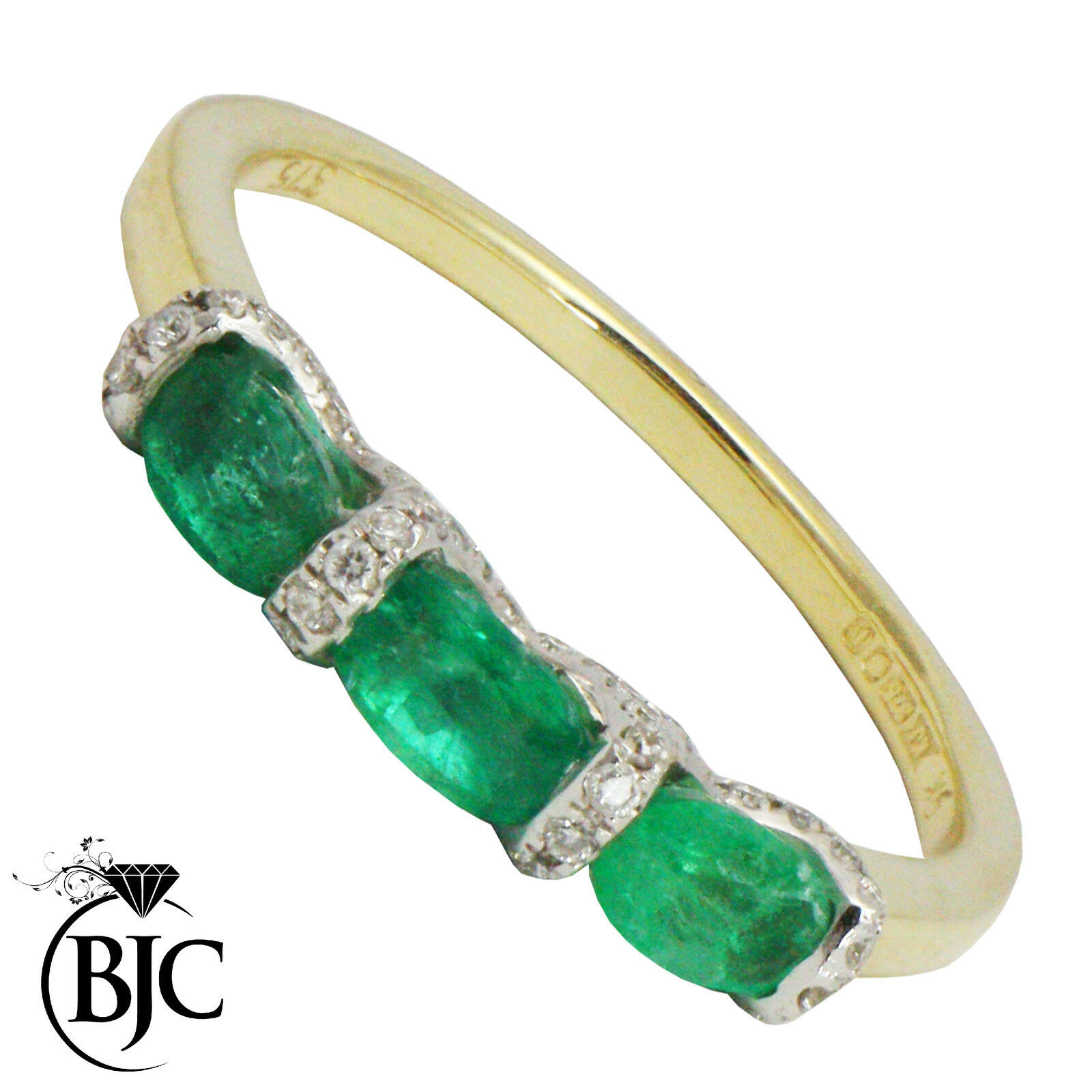 Bjc 9Ct gold yellow Esmeralda & Diamante Trilogía size N Compromiso