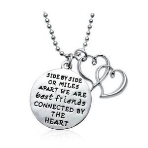 Biżuteria i Zegarki Gold 'My Sister My Friend' Engraved Hoop Pendant Necklace A 925 Silver Plt Naszyjniki i wisiorki