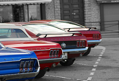 Ford Mustang Shelby GT500 1967 American Classic Muscle Car USA Flag Poster Print