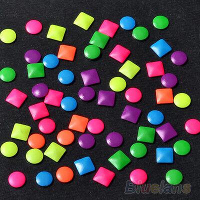 500Pcs 6 Colors Stud Nail Art 3D Design Decoration Stickers Metallic Studs BEBA