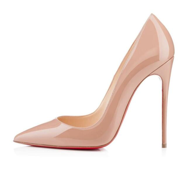 Christian Louboutin SO KATE 120 Patent Leather Stilletto Heels Pumps Shoes Nude