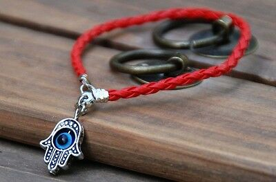 Red HAMSA BRACELET - -  Jewish Good Luck Lucky Against Evil Eye String Kaballah