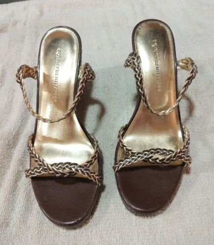 TOMMY HILFIGER WOMENS GOLD WEDGES SANDALS SHOES S… - image 1