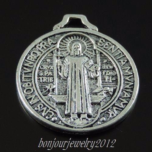 12pcs Vintage Silver Tone Alloy Round Jesus Shape Pendant Charms 3953 24*21*1mm