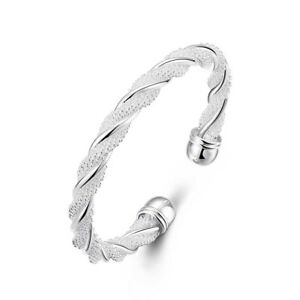 Women-039-s-Fashion-Simple-Silver-Plated-Twist-Cuff-Bangle-Open-Bracelet-Grail