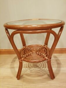 Details About Rattan Natural Wicker Handmade Round Small Coffee Table With Gl Top 20 High
