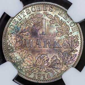 Mark 1914-A NGC MS65 German Empire Silver Coin Great Toning BU UNC