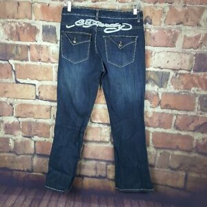 Ed-Hardy-Boot-Cut-Womens-Jeans-Size-16-Flap-Pockets-33-Inseam